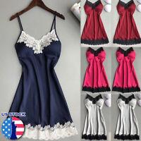 US Women Sexy Lace Lingerie Nightwear Underwear Robe Babydoll Sleepwear Dress