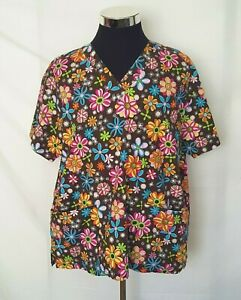 Peaches Large Size Women's Scrubs Top  Brown With Bright Florals V-Neck Pockets