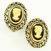 Vintage Gold-tone Black and Gold Glass CAMEO Filigree Clip-On EARRINGS c1950
