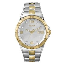 NEW TIMEX 2 TONE GOLD+SILVER,CRYSTAL,STAINLESS STEEL BRACELET MEN'S WATCH-T2P428