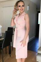 Ladies Boutique Elise Pink Collared Wrap Waist Belt Tie Celeb Bodycon Dress