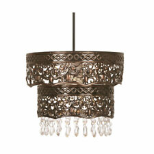 COPPER PENDANT LIGHT SHADE 2 TIER WITH CLEAR DROPS