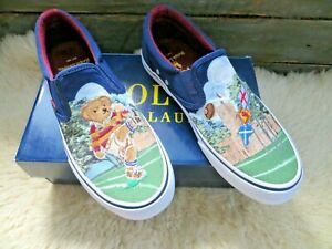 POLO RALPH LAUREN RUGBY TEDDY BEAR SLIP ON  SHOES SIZE UK 8.5 NEW WITH BOX