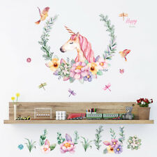 Fairy Tale Cartoon Horse Wall Stickers Girls Bedroom Nursery Art Flowers Decal