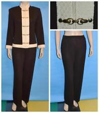 St. John Collection Knit Brown Jacket Pants M L 12 10 2pc Suit Cream Trims Gold