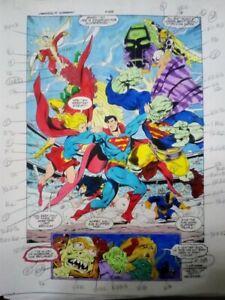 originalzeichnung / seite, superman / justice league original color guide art