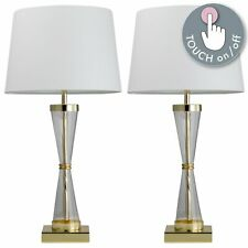 Pair of Touch Control Bedside Lights Table Lamps Modern Gold White Shade