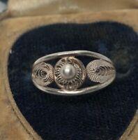 Vintage Sterling Silver Ring 925 Size 6 Filigree