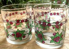 Retro ITALY (3 Pc) ROSES Short TUMBLERS Glasses VG Kitchen Bar Entertaining - AU
