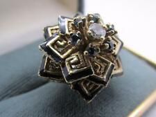 Unique Vintage Diamond And Blue Spinel Enamel 14k Solid Gold  Cocktail Ring