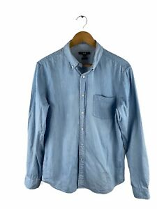 Uniqlo Button Up Denim Shirt Men Size M Blue White Dot Long Sleeve Slim Fit