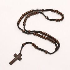 Rosary Wooden Bead Necklace Necklet Brown- Mens Womens Unisex Holy Christ Cross