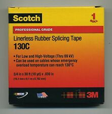"""NEW 3M Scotch 130C Linerless Rubber Splicing Tape 3/4"""" x 30 ft x.030"""" 10 Yd"""