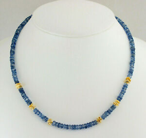 Exclusive Cyanite Chain Kyanite/Cyanite 1A Quality Faceted Blue Necklace 47 CM