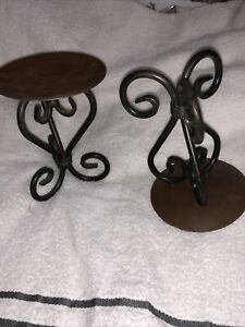 "Black iron scroll pillar candle holder 5.5"" Set Of 2."