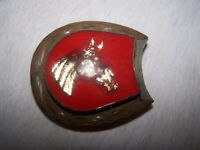 Vintage rare Bridle Rosettes domed horse head brass and silver belt buckle
