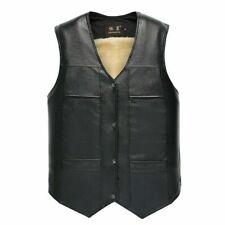 Mens Winter PU Leather Vest Thicken Biker Faux Fur Sleeveless Warm Waistcoats