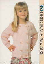 Child's Cardigan Knitting Pattern Copy SUMMER CARDIGAN Double-breasted  8 Ply