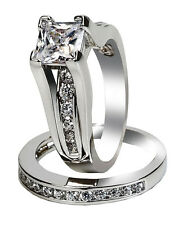 womens princess cut stainless steel wedding ring set size 5 6 7 8 9 10 11 - Engagement And Wedding Ring Set