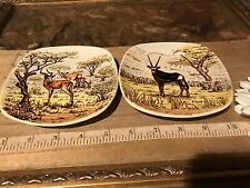"""2 Drostdy Ware South Africa Plates Antelope 4 7/8"""""""