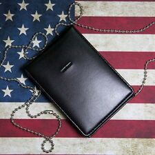 Black Leather Badge ID Card Wallet Holder Case With Neck Chain