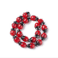 20pcs/Strd Handmade Lampwork Glass Beads 3D Ladybug Unique Spacers Red 12~14mm