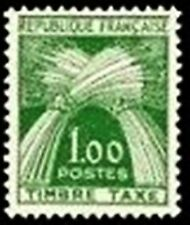 "FRANCE STAMP TIMBRE TAXE N° 94 "" TYPE GERBES 1F VERT "" NEUF xx LUXE"