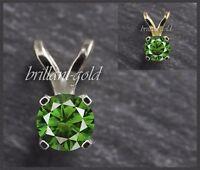 Diamant Anhänger aus 585 Gold, grüner 0,30 ct Brillant in Weißgold/Gelbgold, Neu