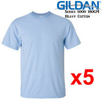 Gildan T-SHIRT Light Blue blank plain tee S M L XL 2XL XXL Men's Heavy Cotton