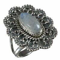 Handmade 925 Solid Sterling Silver Ring Natural Rainbow Moonstone US Size 6.25