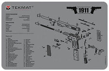 NEW ! M1911A1 Armorers Gun Cleaning Bench Mat Exploded View Schematic 1911 GREY