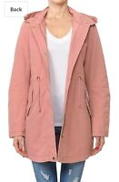Women's Jacket Anorak - Trendy Cotton Anorak Hooded Jacket-sz Large-Mauve