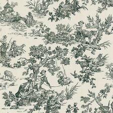Limoges Toile Wallpaper 283-45700 black cream Colonial washable prepasted