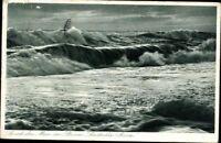 Postkarte PK AK Ansichtskarte gelaufen Nordseebad Sylt Meer Sturm 1935