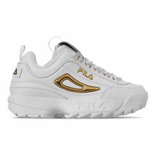 Fila Women's Disruptor 2 Metallic Accent Shoes: White/Gold 5FM00702-141 Size 9.5