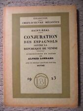 SAINT-RÉAL CONJURATION DES ESPAGNOLS CONTRE LA RÉPUBLIQUE DE VENISE BOSSARD 1922
