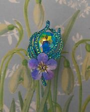Blue FORGET-ME-NOT & PEACOCK RHINESTONE LEAF BROOCH Friendship Pin HAND PAINTED