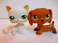 LPS Littlest Pet Shop White Cat Paw Up Brown Dachshund Lot of Two