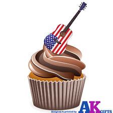 Guitarra Acústica Bandera Americana Fiesta 12 Taza Cake Toppers Decoraciones Comestible