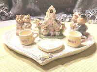 Vintage Miniature Tea Set By Ranger International 1994 Wedding Bears Hearts