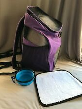 Pet carrier backpack bowl travel hiking ventilated small xs Pawsse purple comfy