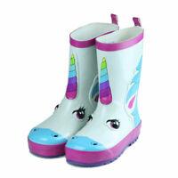 Girls Boys Unicorn Short Waterproof Rubber Rain Boots Garden White Size 5-12 Hot