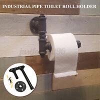 Vintage Iron Pipe Toilet Paper Roll Holder Washroom Bathroom Wall Monted US
