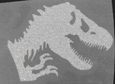 IRON ON TRANSFER glitter silver t-rex dino 3.5 inches width cool item L@@K