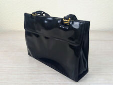 Jane Shilton Black Patent Leather Two Handled Grab Handbag Structured Pockets