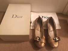*CHRISTIAN DIOR* 100% GENUINE GOLD LEATHER SHEEBA BALLET FLATS SHOES UK 5 38 KEY