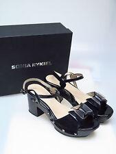 Sonia rykiel CHAUSSURES FEMMES CREATEUR NOIR BARNABE sandale noeud bijoux talon 38 Nouveau