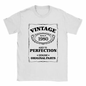 38th Birthday T-Shirt Born In 1980 Mens Present Gift Age - Aged to Perfection