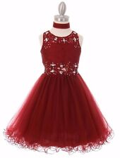New Red Lace Tulle Girls Dress Pageant Wedding Christmas Graduation Party 5010