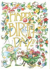 Mary Engelbreit-Happy Birthday Elf Bugs-Blank Greeting Card w/Envelope-New!